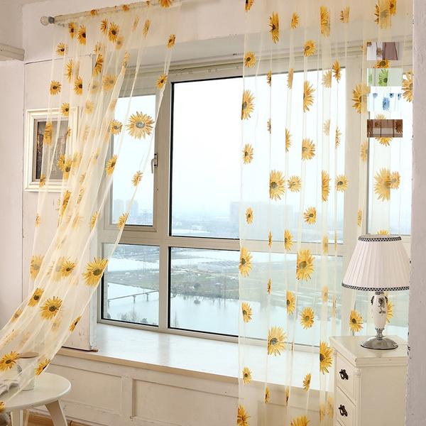 Kitchen, windowblind, Floral, Sunflowers