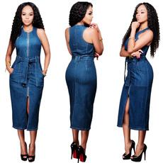 denim dress, sleeveless, Fashion, Dress