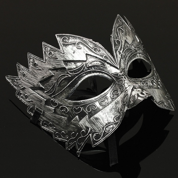 SILVER MASK  Masquerade Ball  Roman Party   Fancy Masked Ball Gladiator METALLIC