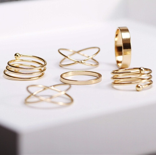goldplated, stackablering, punkrockfingerring, Women Ring
