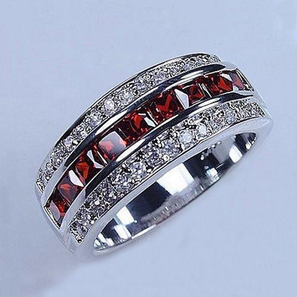Sterling, christmasgiftring, wedding ring, garnet