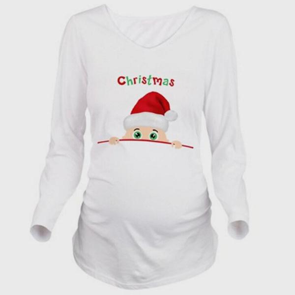 Fashion Womens Pregnant Long Sleeve Crew Neck Christmas Sweater Top Maternity Dress Wish