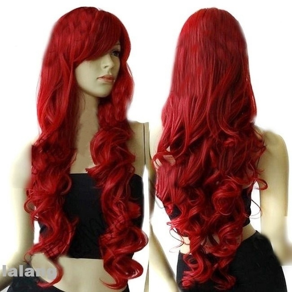 wig, Cosplay, Curly, winered