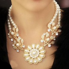 Flowers, gold, Gifts, women necklace