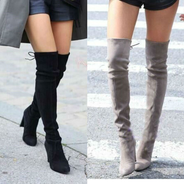 Knee High Boots Winter Vintage Suede