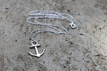 beachnecklace, silveranchornecklace, anchorjewellery, silveranchor