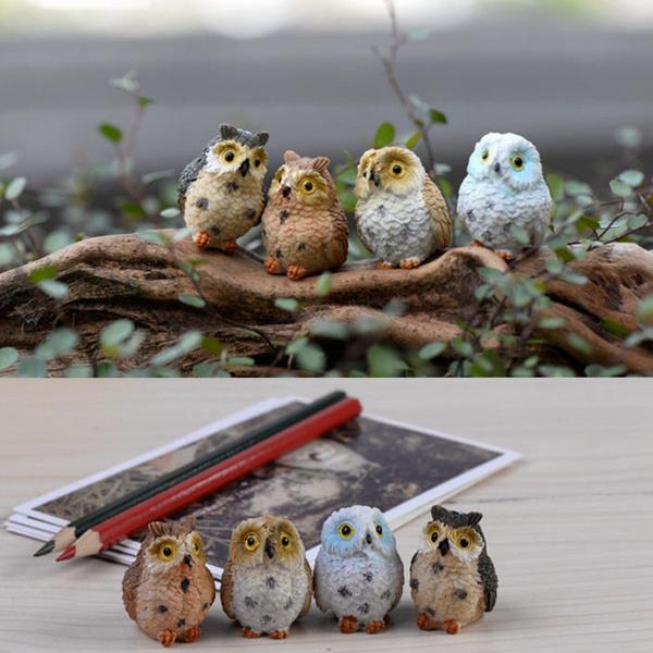 1~4X Miniature Cute Owls Fairy Garden Terrarium Figurine Decor DIY Bonsai Craft