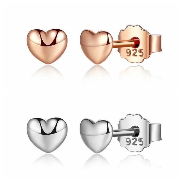 Sterling, Heart, Stud, Jewelry