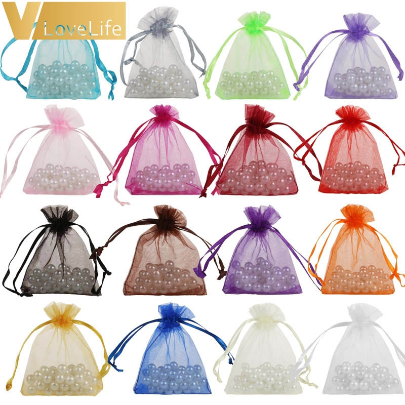 50pcs 7cmx9cm Sheer Organza Bags Drawable Jewelry Pouch Gift Packaging Bag Candy Bag For Wedding Party Favors Xmas Decorations Wish