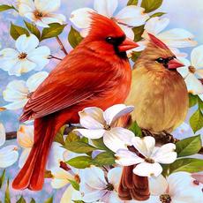 birdsandflowercrossstitch, DIAMOND, handicraft, diysquarediamondpainting
