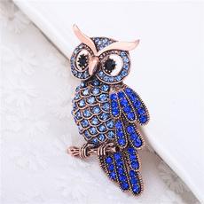 Blues, Owl, diamondbrooch, Fashion