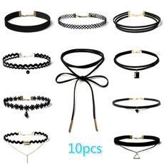 Goth, necklaceset, velvet, lacenecklace