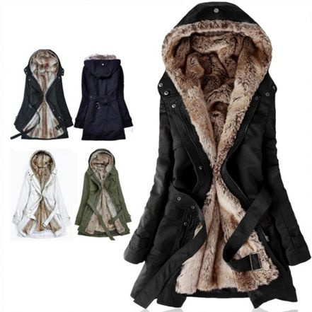 Thick Faux Fur Lining Women S, Long Faux Fur Lined Winter Coat