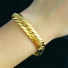 yellow gold, solidbracelet, Chain bracelet, Chain