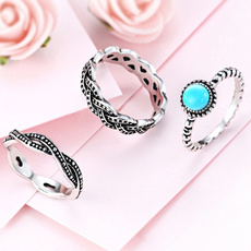 Blues, Fashion Jewelry, stackablering, 925 sterling silver