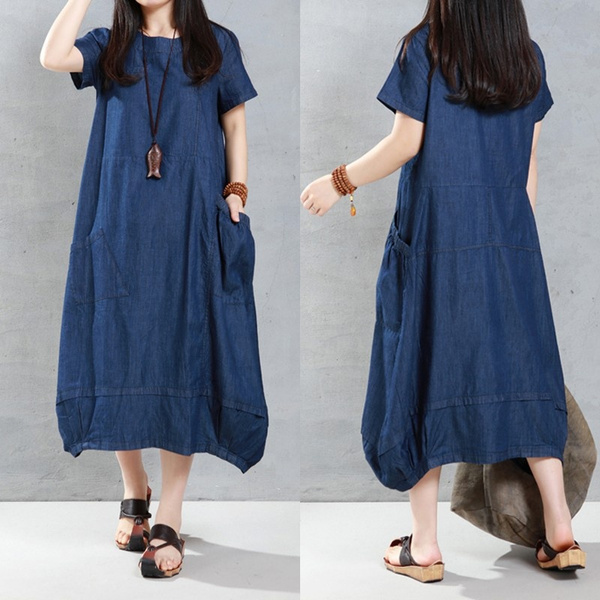 Plus Size S 5xl Vintage Women Kleid Robe Denim Jeans Look Short Sleeve Tunic Baggy Long Maxi Dress Tops Wish