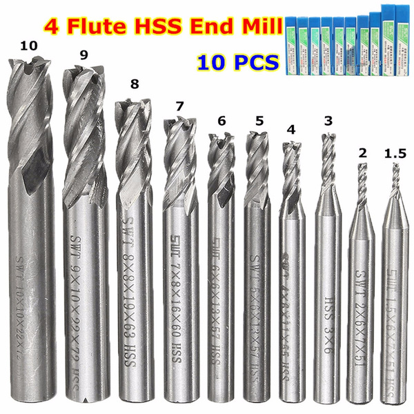 10pcs 1.5-10mm HSS Straight Shank 4 Flute End Mill Cutter Drill Bit Milling  Ц