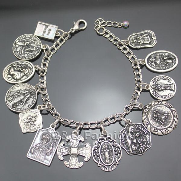 Charm Bracelet, Antique, medalsbracelet, prayerbracelet
