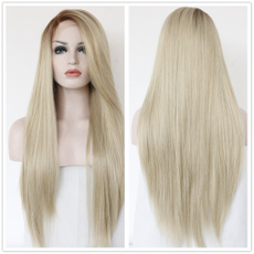 wig, Synthetic Lace Front Wigs, Lace, syntheticfiberblondlongstraighthairwig