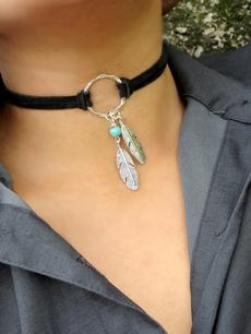 leatherchoker, boho, bohemianfeathernecklace, Jewelry