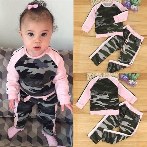 Camouflage Leggings, roundnecksuit, Long Sleeve, babygirlclothe
