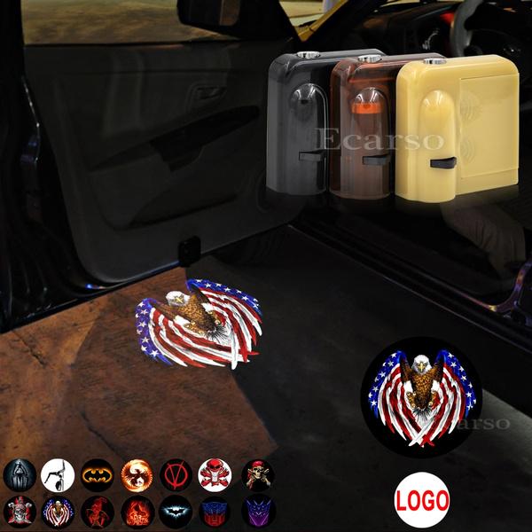 USA Eagle Flag 2 pcs USA Eagle Flag Universal Wireless Car Door Logo Projector Lights No Drilling Led Welcome Shadow Car Door Lights for All Models