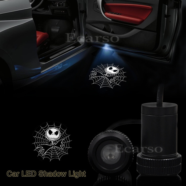 Car Door Projector Logo Light The Nightmare Before Christmas For Jack Skellington for Jack Skellington Universal Wireless Courtesy LED Ghost Shadow Lights Welcome Lamp Suitable fit All Models Cars