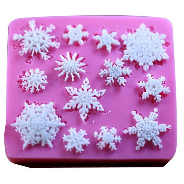 Christmas, Silicone, cake mold, snowflakefondantcakemold