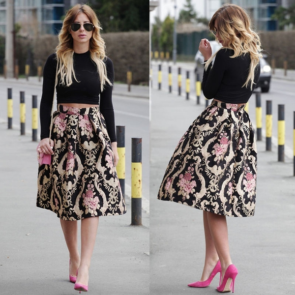 party, Skater Skirt, belowthekneeskirt, high waist