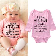 pink, letter print, Long Sleeve, newbornbabyclothe