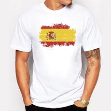Summer, Short Sleeve T-Shirt, Cotton T Shirt, spainnationalflag