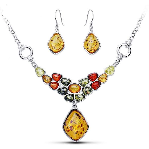 Beautiful, amber, Flowers, Jewelry