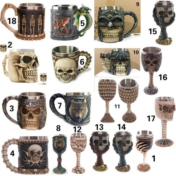 vintageretro, skullmug, Skeleton, Glass