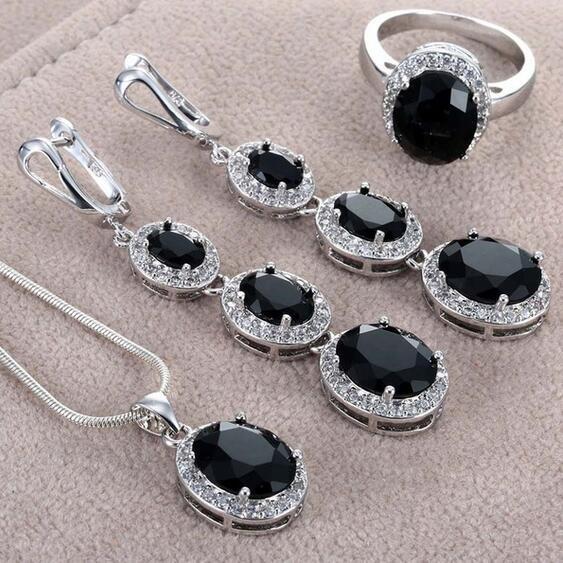 blackrhinestone, Silver Jewelry, Jewelry Set, 925 sterling silver
