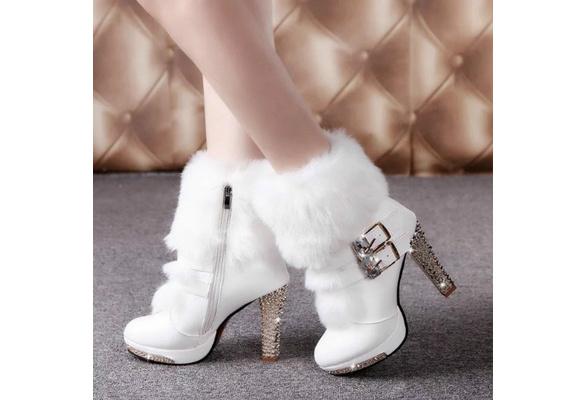 Womens Winter Boots High Heels Wedge Side Zipper Padded Warm Buckle Chic D157