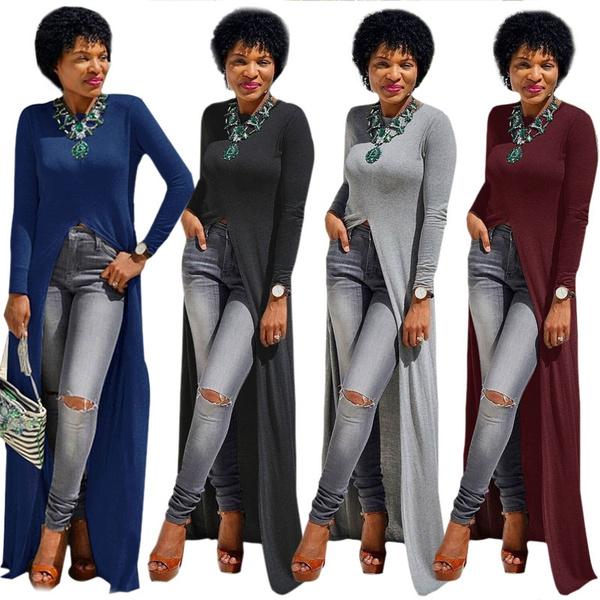 Sexy Side High Slits Split Long T Shirt Maxi Dress Clubwear Casual Women Long Dress 5 Colors | Wish