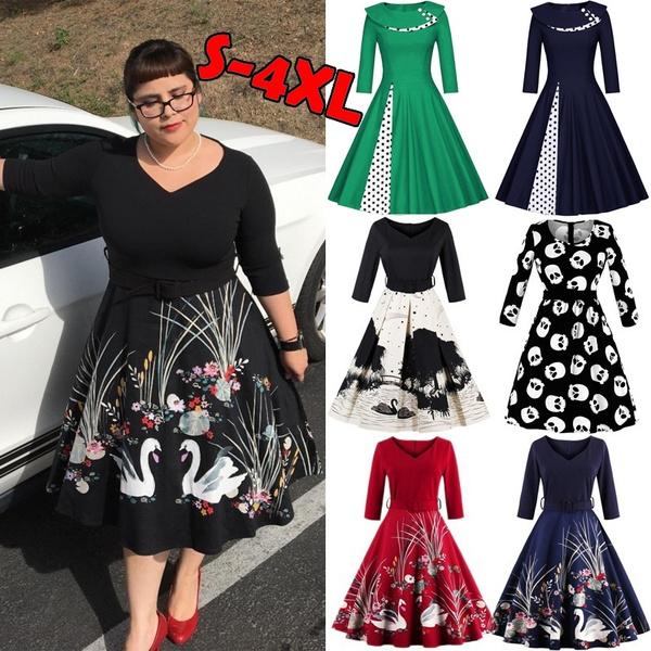 Swing dress, Plus Size, Floral print, Vintage Dresses