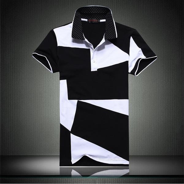 Splicing, black, polo men, Polo Shirts