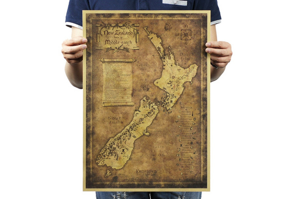 Retro Antique Poster Vintage Style Wall Decor Picture The Lord of The Rings Map
