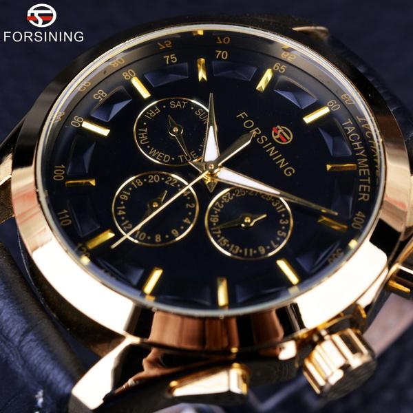 Chronograph, golden, menclock, Fashion
