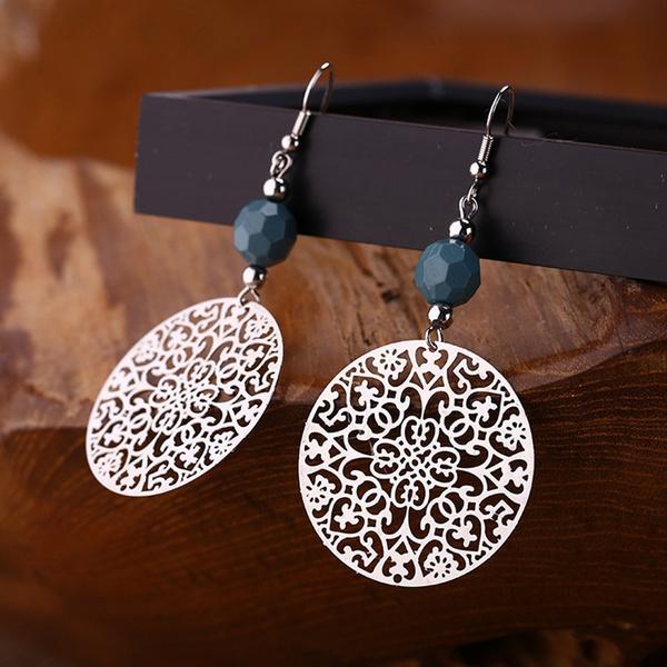 Fashion, Dangle Earring, hollowoutopalearring, vintage earrings