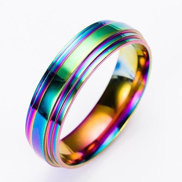 Couple Rings, rainbow, lgbtring, Jewelry