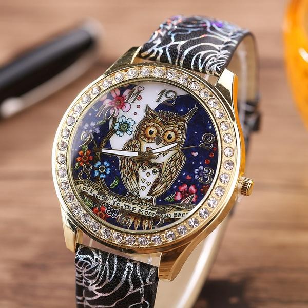 Owl, quartz, leather, quartz watch