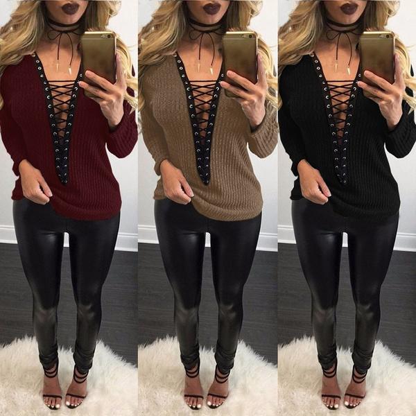 blouse, knitwear, Deep V-Neck, Necks