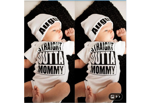 R03 Straight OUTTA Mommy Quote baby bodysuit Baby Black
