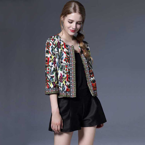 Shorts, Floral print, 34sleeve, Sleeve