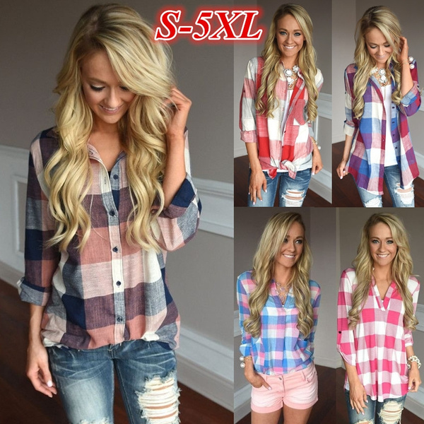 plaid shirt, Plus Size, Shirt, Sleeve
