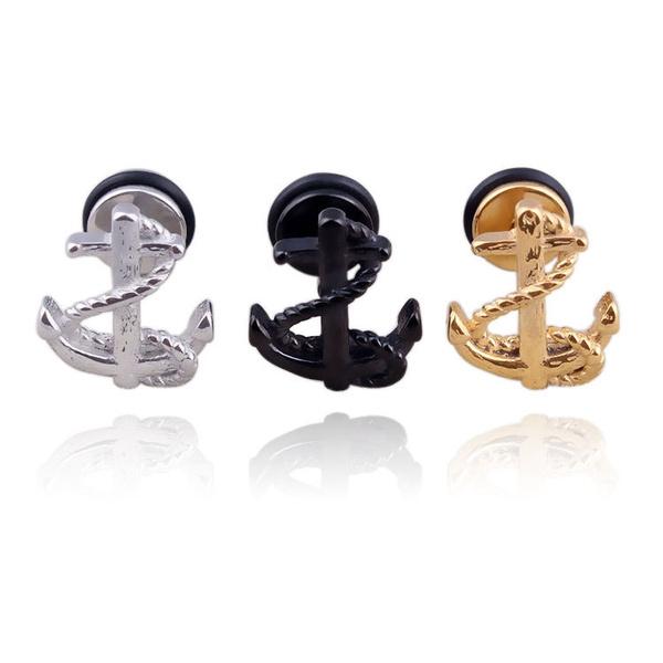 Steel, anchorjewelry, Fashion, punkrockstylejewelryearring