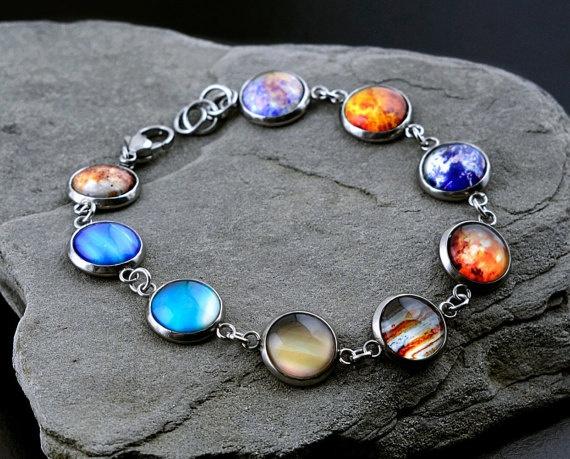 Steel, galaxybracelet, solarsystem, Jewelry