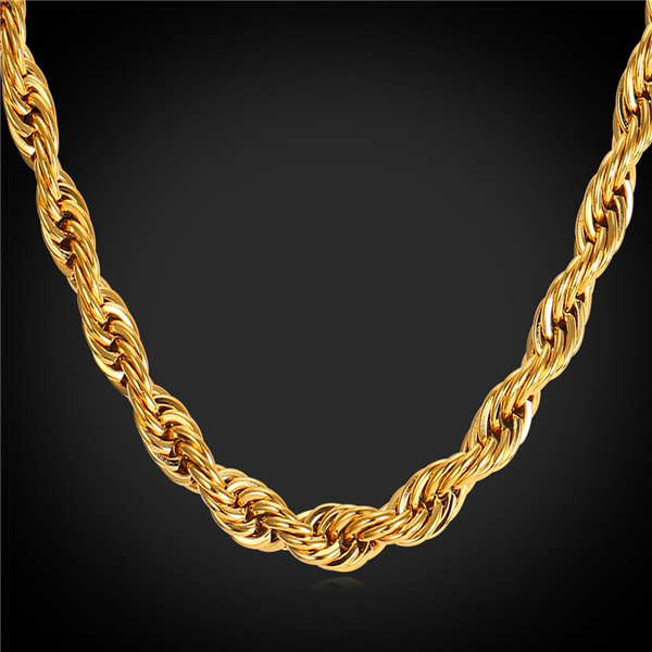 goldplated, ropechainnecklace, gunblacknecklace, Jewelry